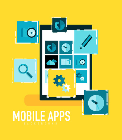 smartphone apps: Flat mobile apps on tablet concept - camera, magnifier, settings, globe and other icons