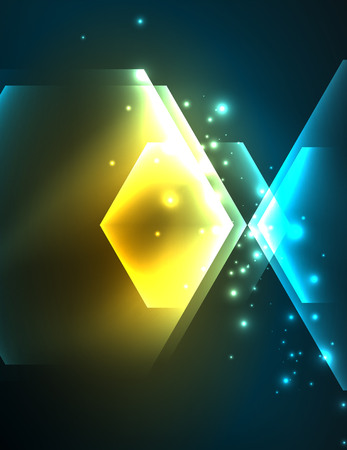 long night: Techno glowing glass hexagons vector background Illustration