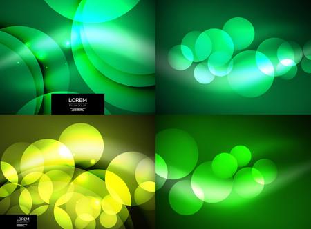 Set of shiny glowing glass circles, modern futuristic background template