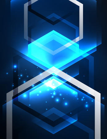 simple frame: Techno glowing glass hexagons vector background, futuristic dark template with neon light effects and simple forms