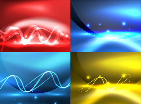 rainbow abstract: Glowing shiny wave backgrounds set