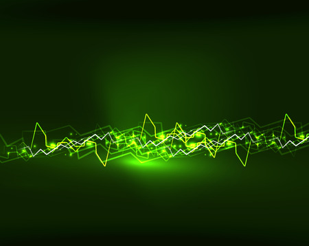 Neon green lightning vector background template