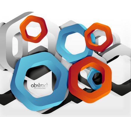 cut paper: Overlapping hexagons design background Illustration