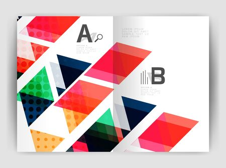catalog: Vector triangle business annual report cover print template