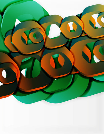 light chains: Geometric abstract background, cut chain shapes or hexagons on white. Vector illustration Illustration