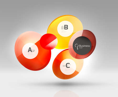 Circle geometric abstract background, colorful business or technology design for web on white with sample text Illustration