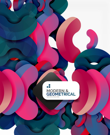 cut paper: Abstract color geometric round shapes on white