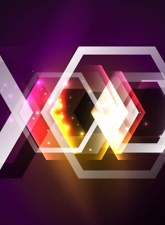 Techno glowing glass hexagons vector background, futuristic dark template with neon light effects and simple forms