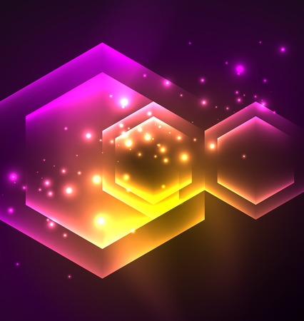 nighttime: Techno glowing glass hexagons vector background, futuristic dark template with neon light effects and simple forms