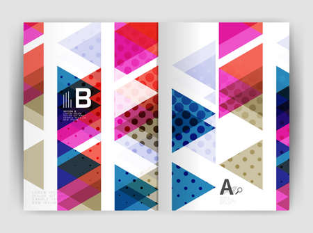 mosaic: Vector triangle business annual report cover print template