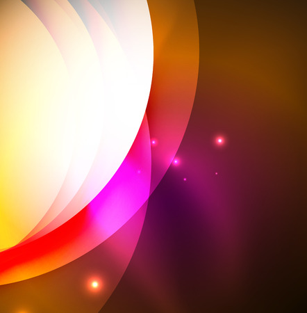fiery: Overlapping circles on glowing abstract background Illustration