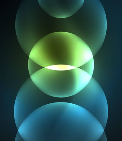 illuminate: Glowing blue shiny overlapping circles composition on dark background, magic style light effects abstract design template Illustration