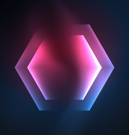 electric grid: Techno glowing glass hexagons vector background Illustration
