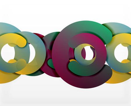 cut paper: Circle geometric abstract background, colorful business or technology design for web. Paper round shapes - rings, geometric 3d style texture, banner