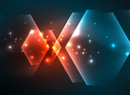 Techno glowing glass hexagons vector background Illustration
