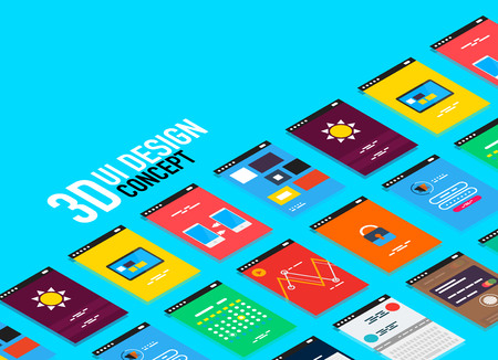 touch screen interface: Vector isometric mobile app ui design concept