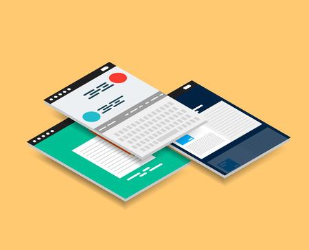 smartphone apps: Vector isometric mobile app ui design concept