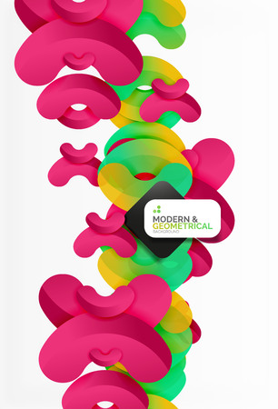 boublik: Abstract color geometric round shapes on white - elements with shadow, colorful composition Illustration