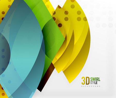 Swirl and wave 3d effect objects, abstract template vector design Illustration