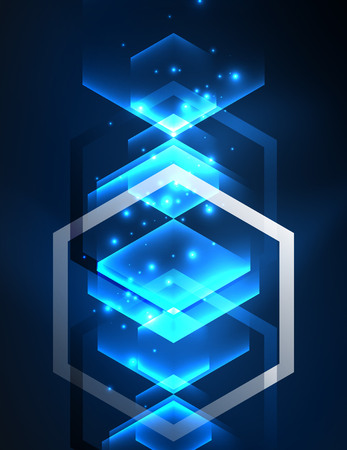 electric grid: Techno glowing glass hexagons vector background, futuristic dark template with neon light effects and simple forms