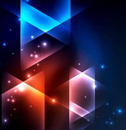 formes géométriques incandescentes dans un espace sombre fond