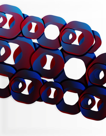 Geometric abstract background, cut chain shapes or hexagons on white Illustration