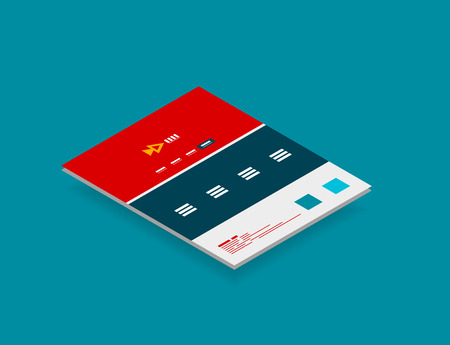 simple frame: Isometric concept of web site design scheme template, modern semi flat 3d concept