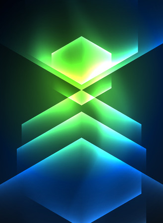 simple frame: Techno glowing glass hexagons vector background Illustration