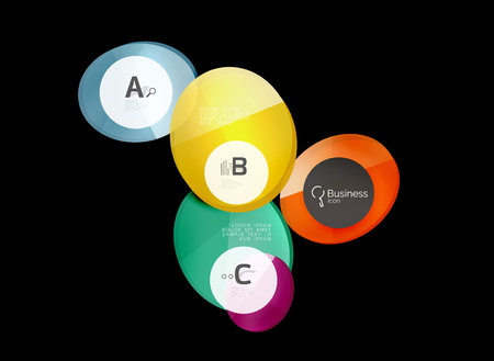 cam: Glass circles on black, vector abstract background