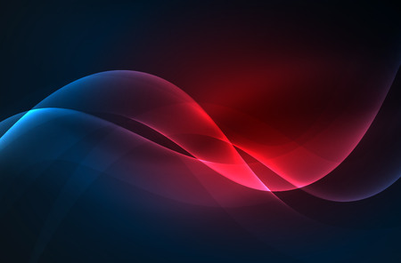 smoky black: Smoky glowing waves in the dark, vector abstract background Illustration