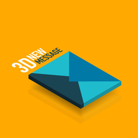 Flat new message concept, modern 3d isometric vector design