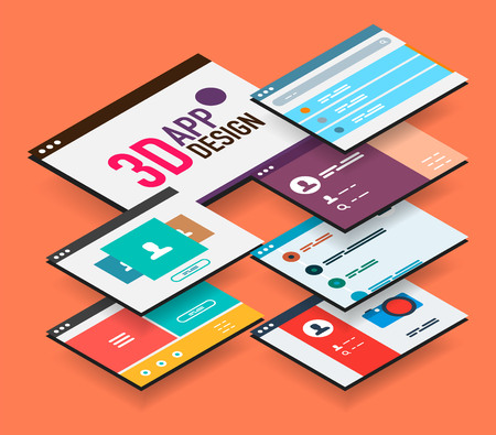 touch screen interface: Isometric app concept