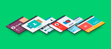 build up: Isometric app concept, vector modern 3d semi flat design