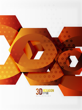 Geometric abstract cut chain shapes or hexagons template design.
