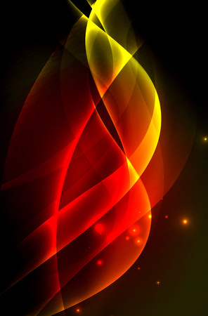 vitality: Smoky glowing waves in the dark, vector abstract background Illustration