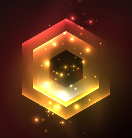 long night: Techno glowing glass hexagons vector background, futuristic dark template with neon light effects and simple forms