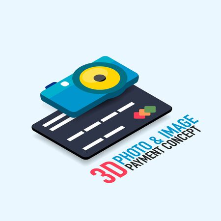Vector payment for image or photo concept with credit card, modern isometric flat style design