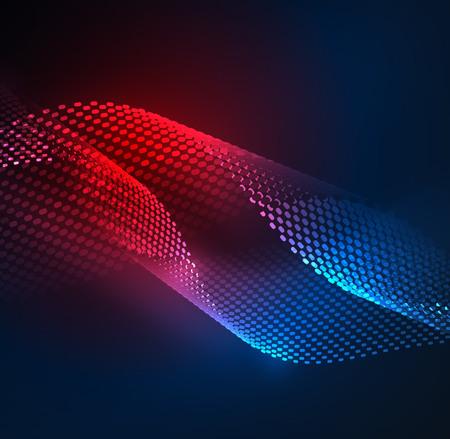 Świecące cząstki wzór fali szablonu, koncepcja technologii wektorowej światła