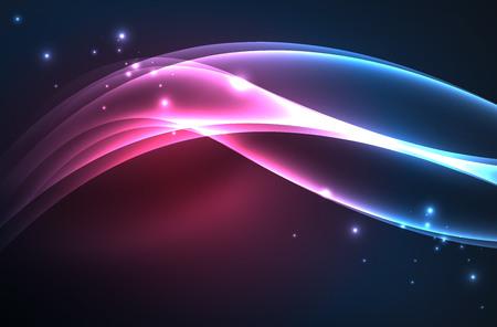 Vector glowing wave, smoke design wavy lines