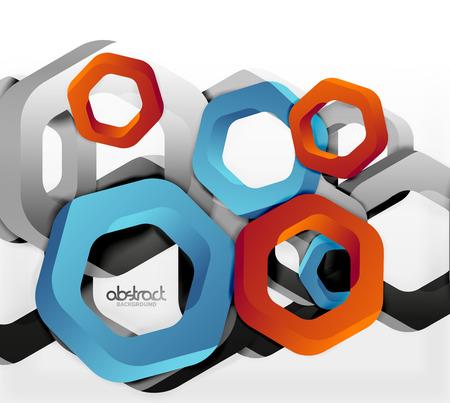 Overlapping hexagons vector design background