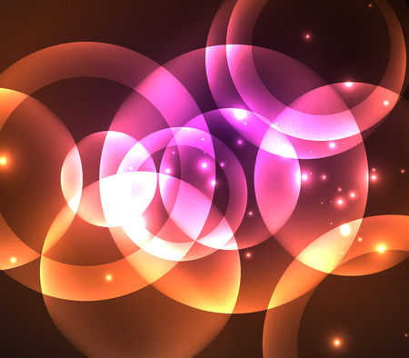 ring flash: Glowing shiny overlapping circles composition on dark background Illustration