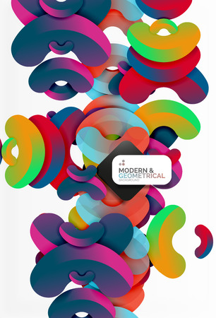 Abstract color geometric round shapes on white - elements with shadow, colorful composition Illustration