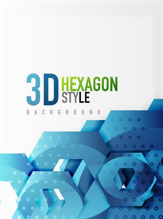 blue metallic background: Vector 3d effect hexagon background