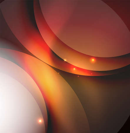 fade: Overlapping circles on glowing abstract background with shining light effects, magic style design template Illustration