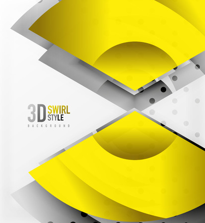 Swirl and wave 3d effect objects, abstract template vector design. Overlapping waves on white background Illustration