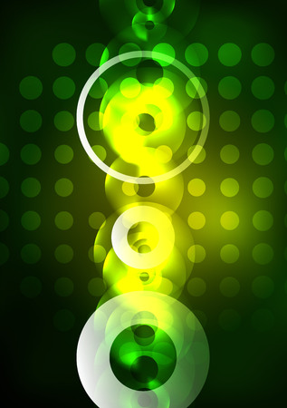 Glowing circles in the dark, futuristic abstract design template.