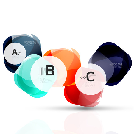 rectangle button: Glass glossy abstract stones with text. Abstract template Illustration