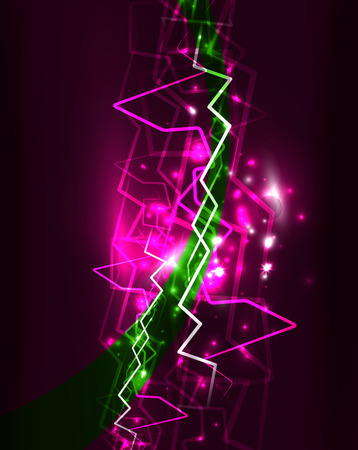 Neon lightning in green and magenta