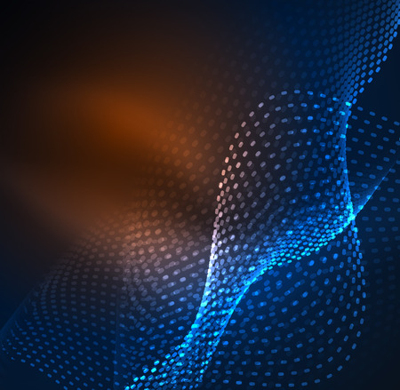 Glowing particles wave design template