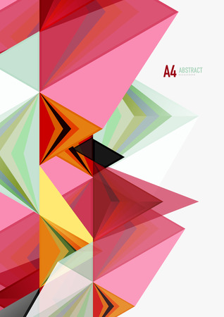 Triangular low poly vector a4 size geometric abstract template. Multicolored triangles on light background, futuristic techno or business design Illustration